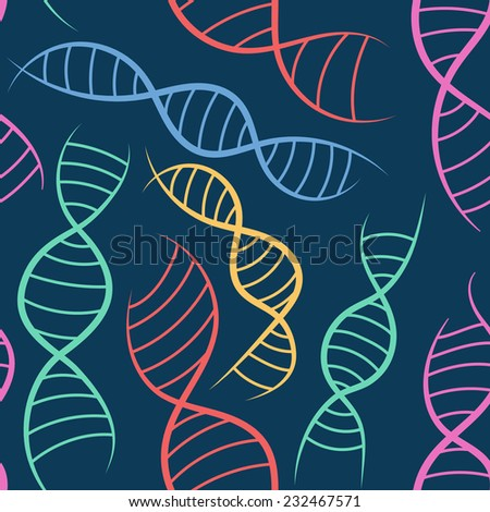 scientific background, seamless pattern with DNA, the genetic spiral - stock vector