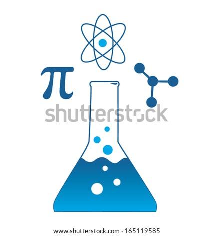 Scientific Beaker Icon with Pi, Atom, and Molecule Symbols - stock vector