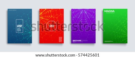 Scientific covers set. Polygon pattern. Futuristic backgrounds. Eps10 layered vector.