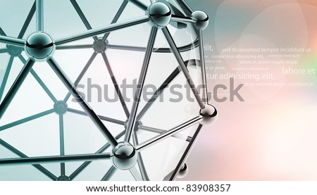 scientific 3D model of the molecule an atom of metal and glass - stock vector