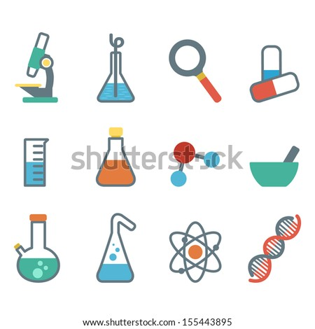 scientific icon into a flat style, a set of flat icons with symbols of science and medicine - stock vector