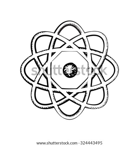 Scientific model of atom with nucleus and orbits isolated on white background. Sketch icon or symbol - stock vector