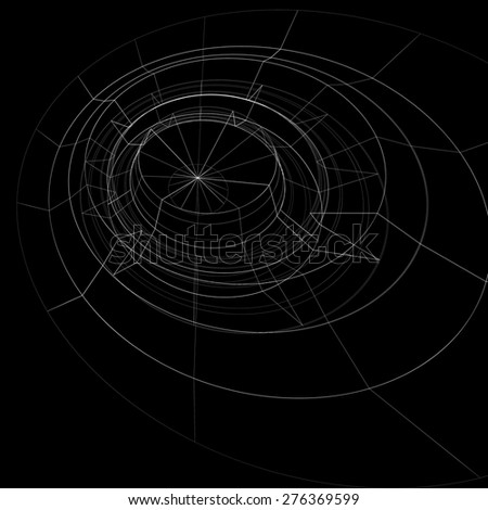 Scientific perspective lattice dark background, abstract netting surface with lines mesh. Web graphic structure backdrop, engineering sketch. - stock vector