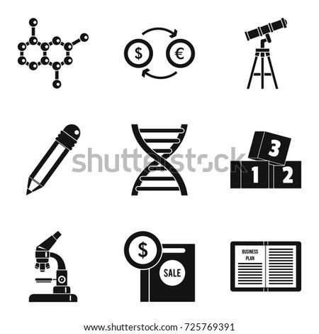 Scientific Report Icons Set Simple Set Stock Vector