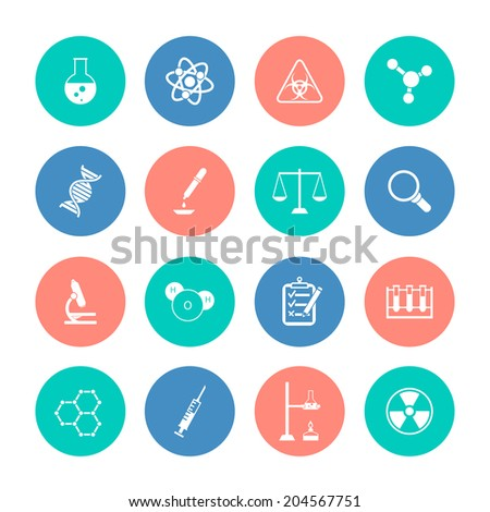 Scientific research chemistry equipment pictograms collection color circles graphic design icons set isolated vector illustration - stock vector