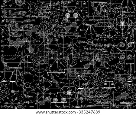Scientific vector seamless pattern with math and physical formulas, chemistry plots and graphic schemes, shuffled together. Endless math texture. You can use any color of background - stock vector