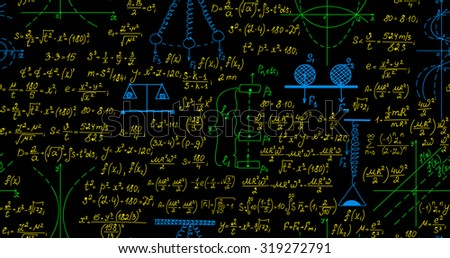 Scientific vector seamless pattern with mathematical and physical formulas, plots and calculations, different colors - stock vector