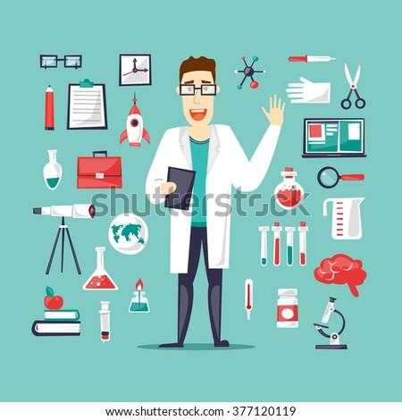 Scientist and a set of icons Lab. Science and Education. Character design. Flat design vector illustration. - stock vector