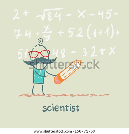 scientist holding pen writes equation - stock vector