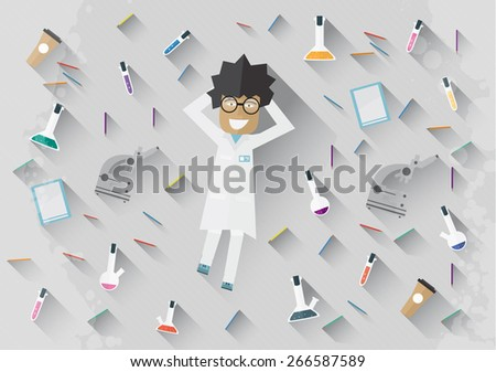 Scientist in lab lying on the floor concept making research vector illustration - stock vector