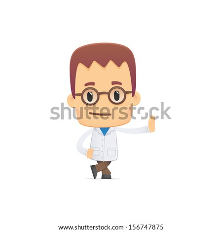 scientist in various poses for use in advertising, presentations, brochures, blogs, documents and forms, etc. - stock vector