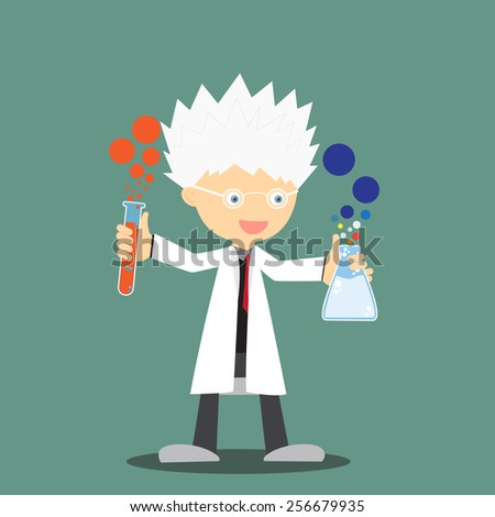 Scientist or professor holding flask pose for advertising and presentation, vector illustration. - stock vector