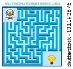 Scientist's Maze Game (help the scientist find the right way to a bright idea) - Maze puzzle with solution - stock photo