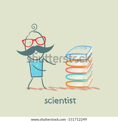 scientist with books