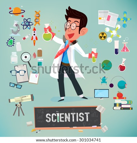 scientist with icon elements of laboratory equipment . scient equipment - vector illustration - stock vector