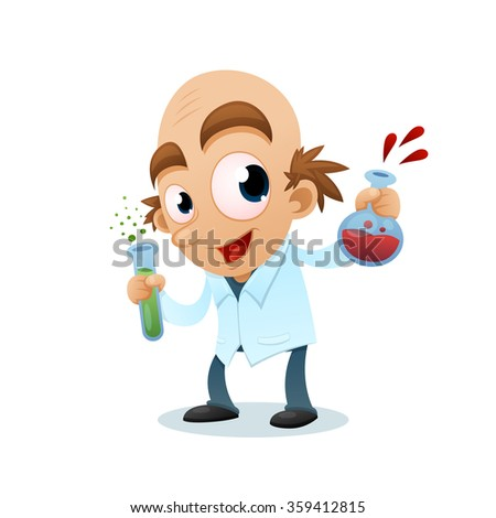 Scientist with test tubes  - stock vector