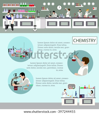 Scientist working in laboratory vector illustration. Science lab interior. Chemistry education concept. Male and female engineers making research and experiments. - stock vector
