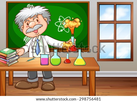 Scientist working in the lab - stock vector
