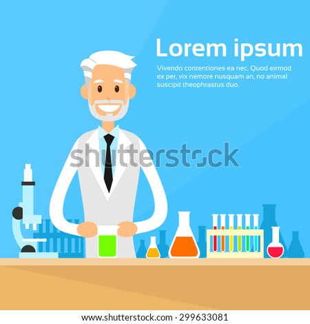 Scientist Working Research Chemical Laboratory Flat Vector Illustration - stock vector