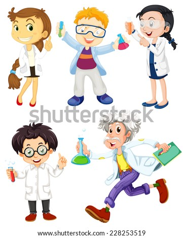 Scientists and doctors on white - stock vector