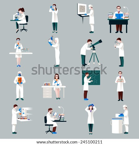 Scientists characters set with male and female people in laboratory isolated vector illustration - stock vector