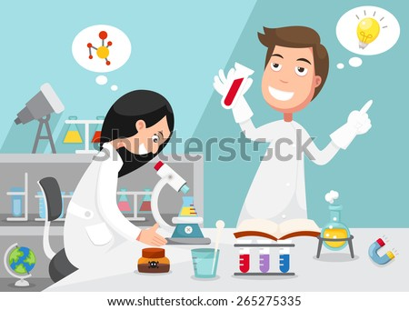Scientists doing experiment surrounded by lab equipment .illustration, vector - stock vector