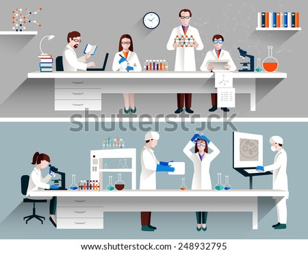 Scientists in lab concept with males and females making research vector illustration - stock vector
