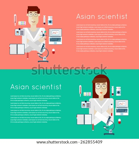 Scientists woman and man. Asian scientists. Chemistry. 2 banners with place for text and a set of icons. Flat vector illustration. - stock vector