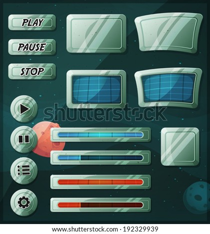 Scifi Space Icons For Ui Game/ Illustration of a set of various cartoon design ui game space and scifi elements including banners, signs, buttons, load bar, app icon with stars and planets background - stock vector