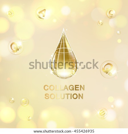 Scince illustration of orange background with oil drop. Organic cosmetic and skin care cream. Regenerate face cream and Vitamin complex concept. Beauty skin care design over pink backdrop. - stock vector