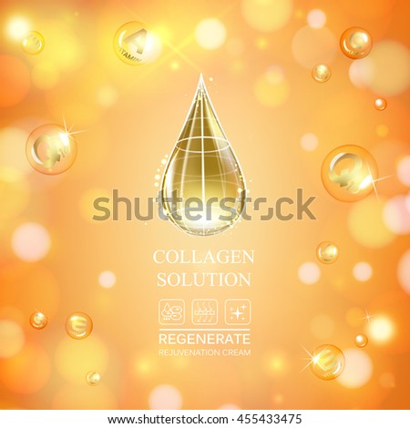 Scince illustration of orange background with oil drop. Organic cosmetic and skin care cream. Vector illustration. - stock vector