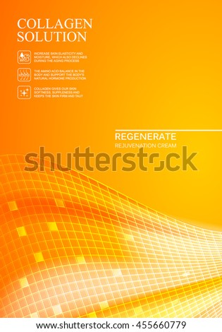 Scince illustration of orange background with regeneration cream. Organic cosmetic and skin care cream. Orange background for label of collagen solution. Vector illustration. - stock vector