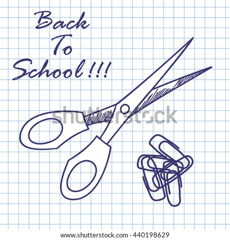 Scissors and clips. Doodle sketch on checkered paper background. Vector illustration. - stock vector
