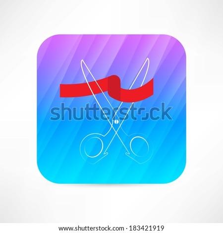 scissors and red ribbon con - stock vector