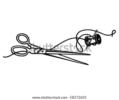Scissors And Thread - Retro Clip Art - stock vector