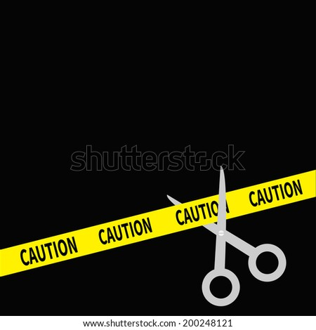 Scissors cut caution ribbon on the right. Flat design style. Vector illustration - stock vector