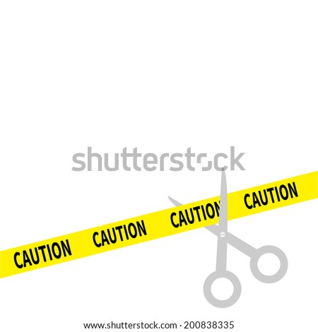 Scissors cut caution ribbon on the right. Isolated. Flat design style. Vector illustration - stock vector