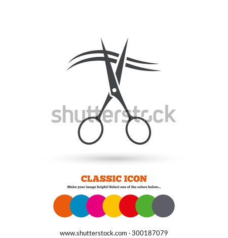 Scissors cut hair sign icon. Hairdresser or barbershop symbol. Classic flat icon. Colored circles. Vector - stock vector