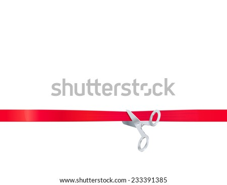 Scissors cut the red ribbon, isolated on white background - stock vector