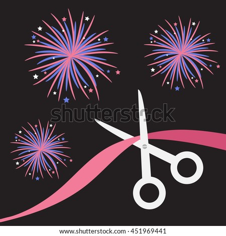 Scissors cut the ribbon. Grand opening celebration. Business beginnings event. Launch startup. Black background with fireworks. Flat design style. Vector illustration. - stock vector