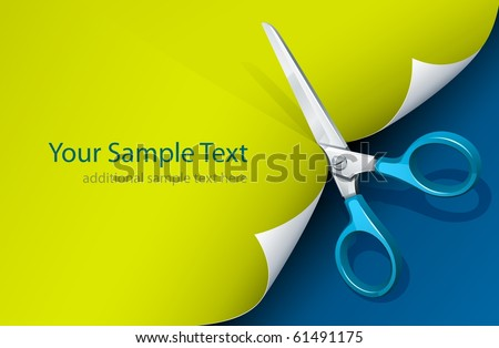 scissors cutting paper vector illustration - stock vector