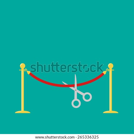 Scissors cutting red rope golden barrier stanchions turnstile Flat design Vector illustration - stock vector