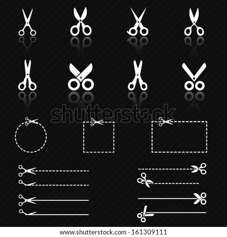 Scissors icon set - stock vector