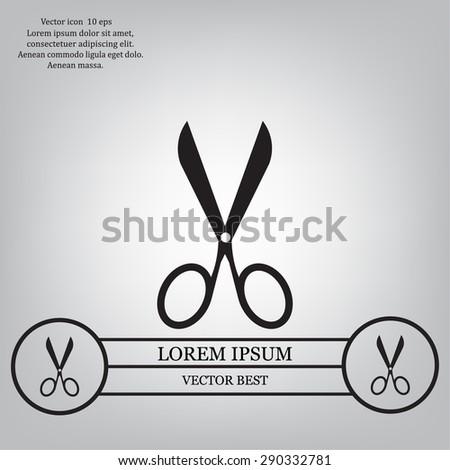 Scissors icon, vector illustration. Flat design style - stock vector