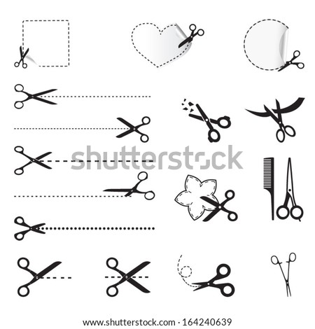 Scissors icons - stock vector