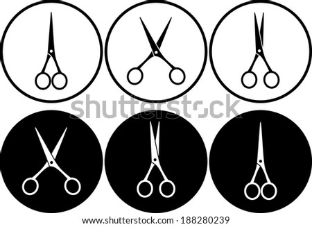 scissors in frame on black and white background - stock vector