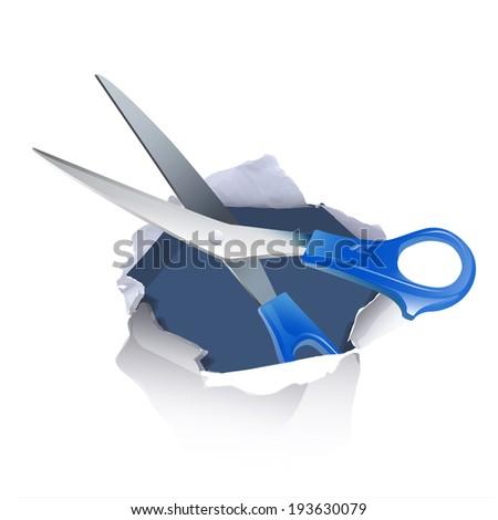 scissors inside hole paper over white background - stock vector