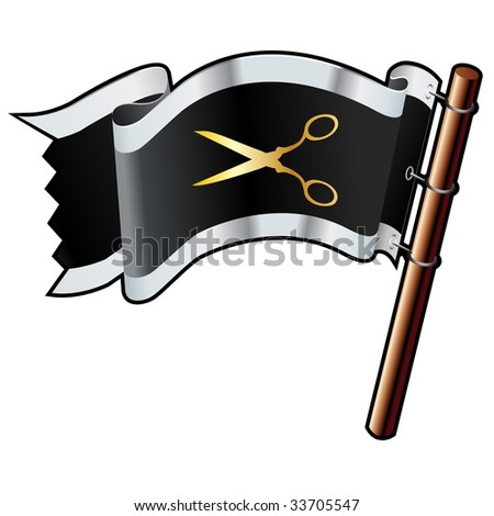 Scissors or DIY icon on black, silver, and gold vector flag good for use on websites, in print, or on promotional materials