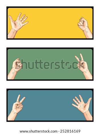 Scissors VS Paper VS Rock - stock vector