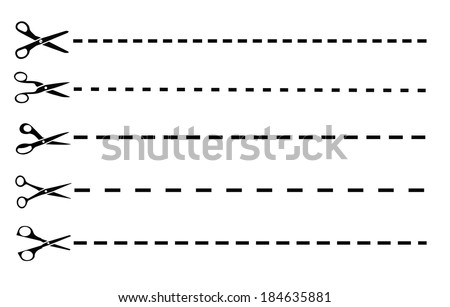 Scissors with cut lines - stock vector